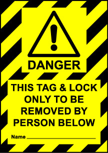 Size A7 Danger Lock out before operation