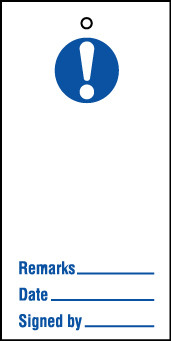 Lockout tags 110x50mm Mandatory blank. Pack of 10