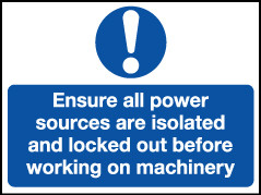 'Ensure All Power Sources Are Isolated...' - Safety Lockout Labels 55 x 75mm