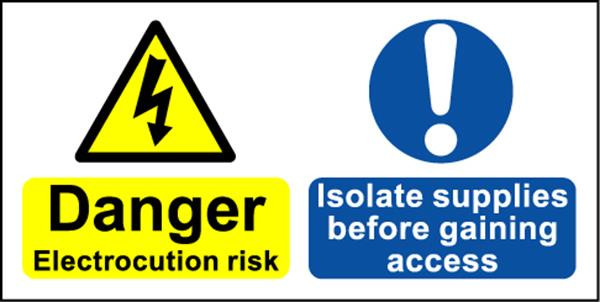 Electrical Hazard Warning Label - Isolate Supplies