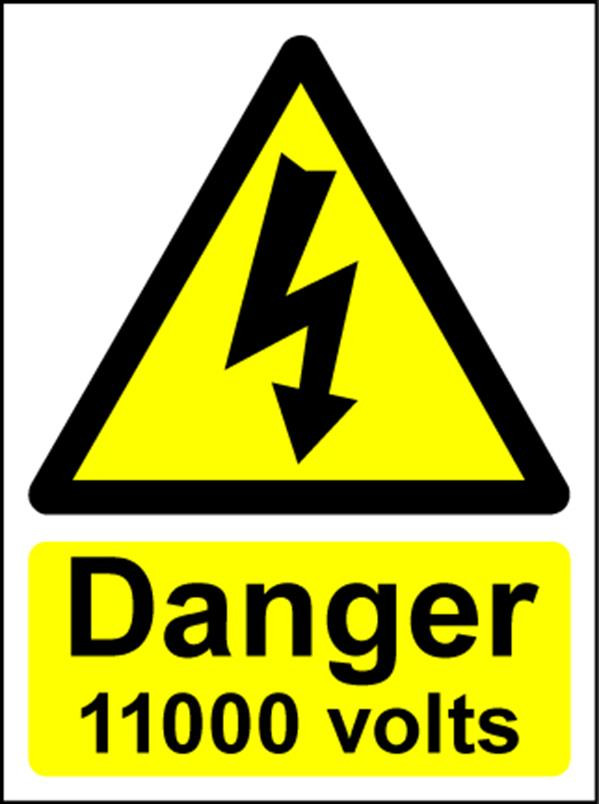 Hazard Warning Sign 200x150mm Danger 11000 volts (s/a)