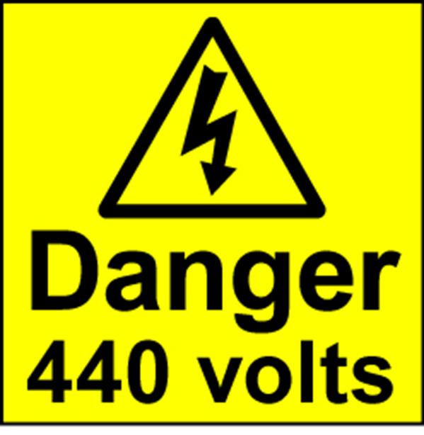 Electrical Safety Labels - 440 Volts