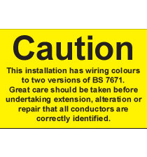 BS7671:2001 Sign (pack of 10) 55x75mm s/a
