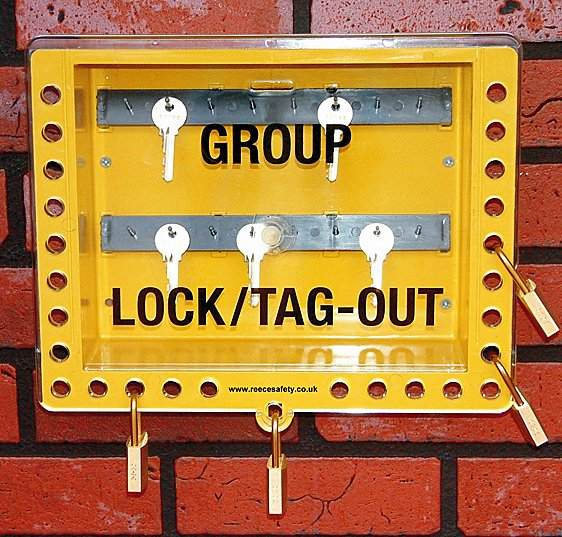 Steel Wall mounted or Portable Group Lockout Box - 50 hook. Colour Red.