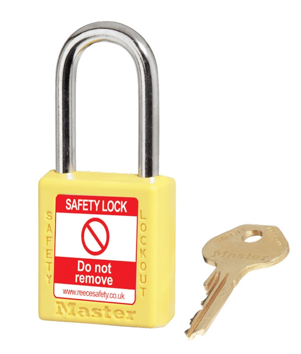 XENOY Padlock YELLOW, keyed differently.