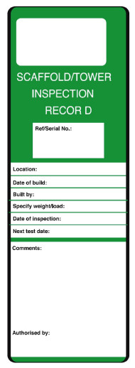 Scaffold/tower Inspection Record Safety message/maintenance tag