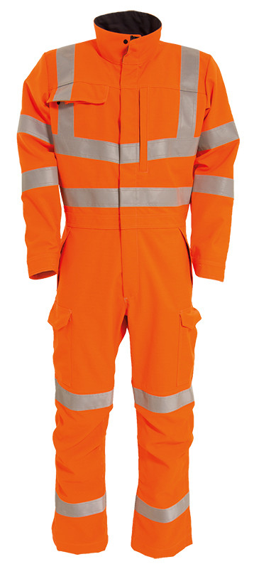Arc Rated Hi-Vis Orange Coverall with reflective tape 8.7cal/cm2