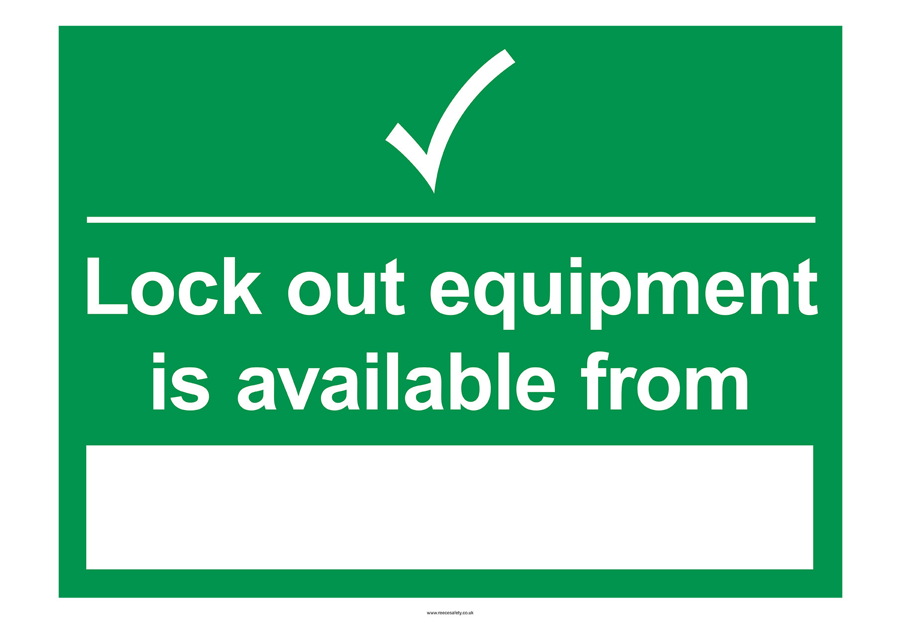 S/A Lockout Wall Sign 450x600mm Lockout equipment is avail