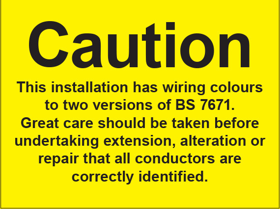 BS7671:2001 Sign (single) 150x200mm s/a