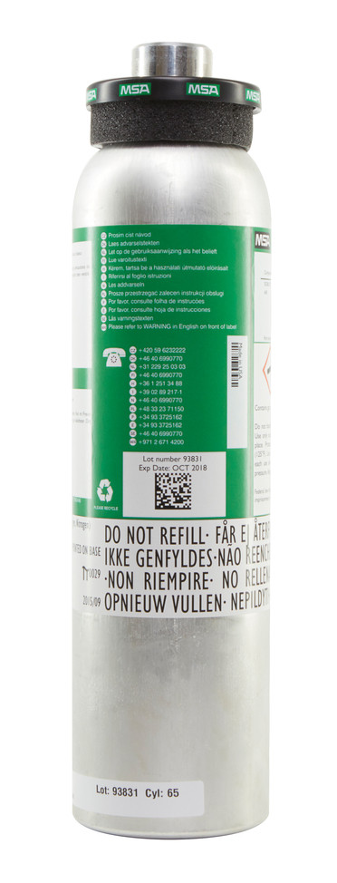 Calibration Gas Cylinder (58L), 1.45% CH4, 20 H2S, 60 CO, 15% O2