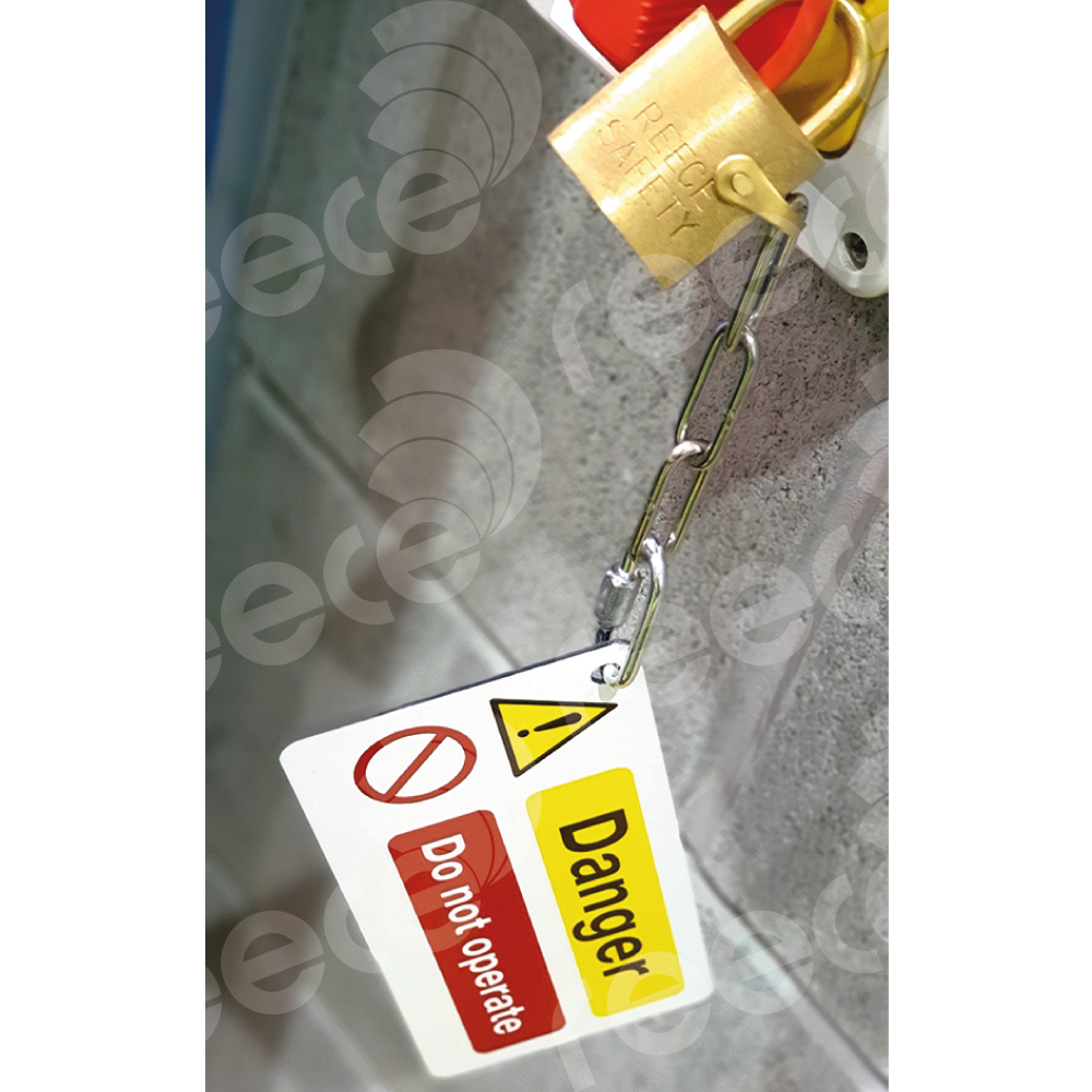 Danger Board fitted with 75mm 3 inch zinc chain