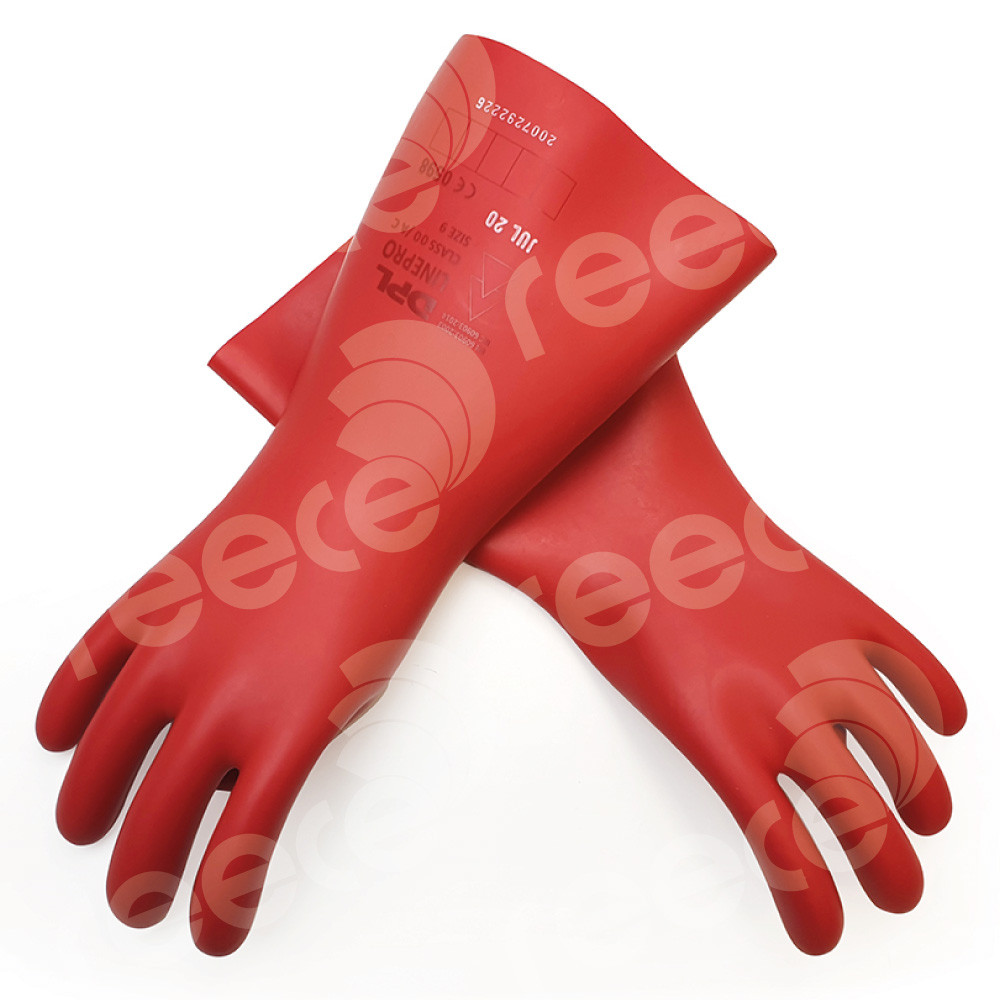 Insulating Latex Gloves 360mmL x 0.5mm thick 500v Class 00 Size: 09 RED