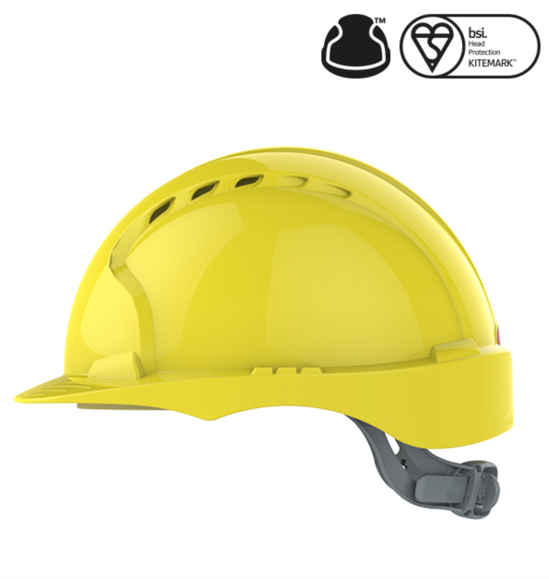 EvoGuard C2 Visor + EVO2 Vented Safety Helmet Combined - Yellow