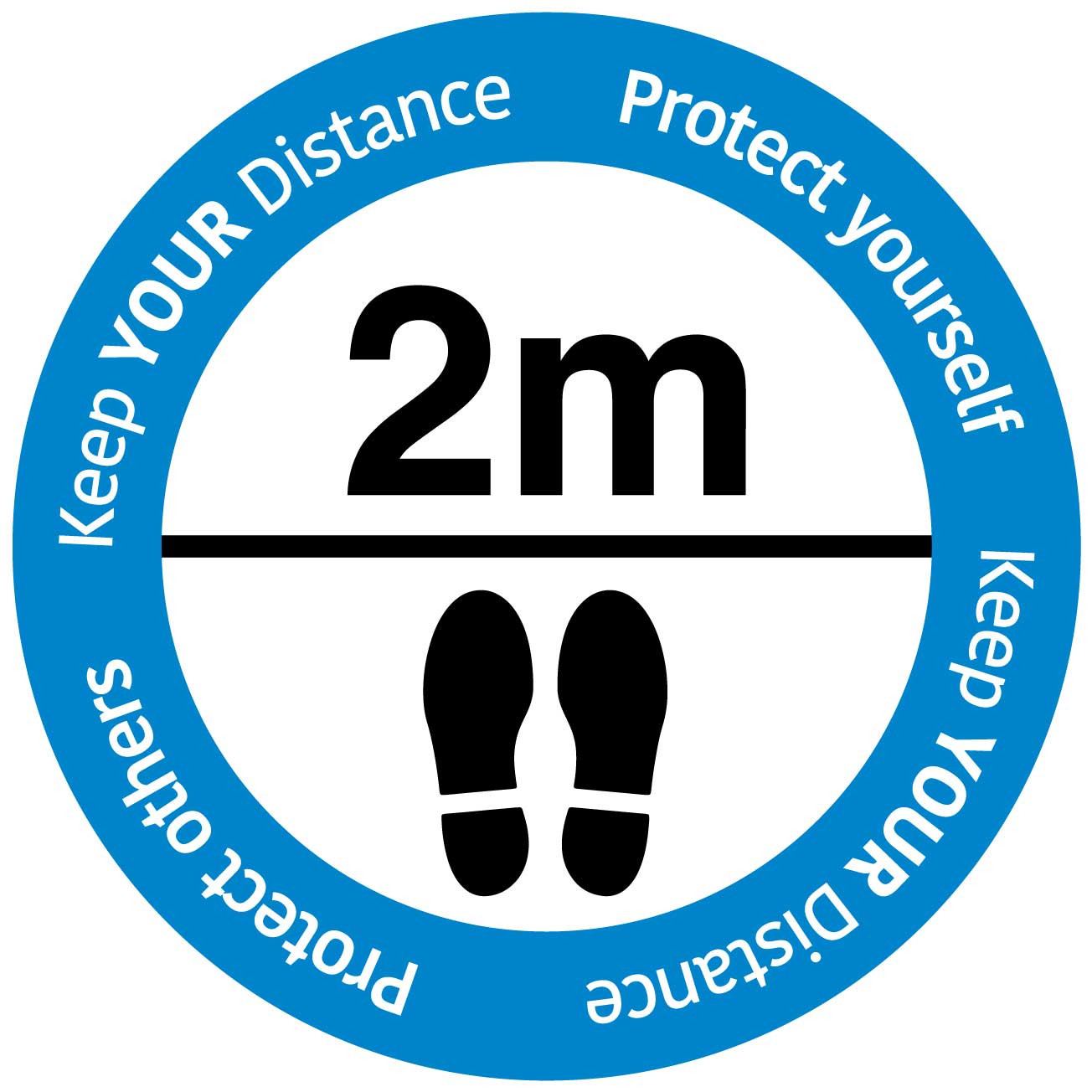 """Social Distancing floor sign """"Keep your distance""""_BLUE"""