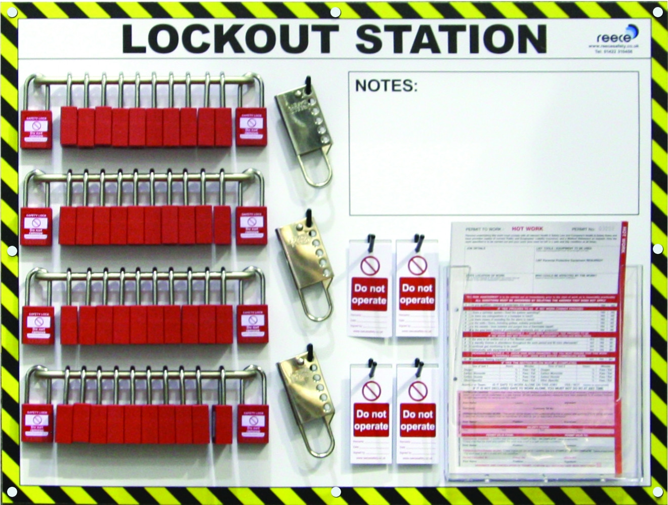 50 Lock, Steel Bar Lockout Station With Contents
