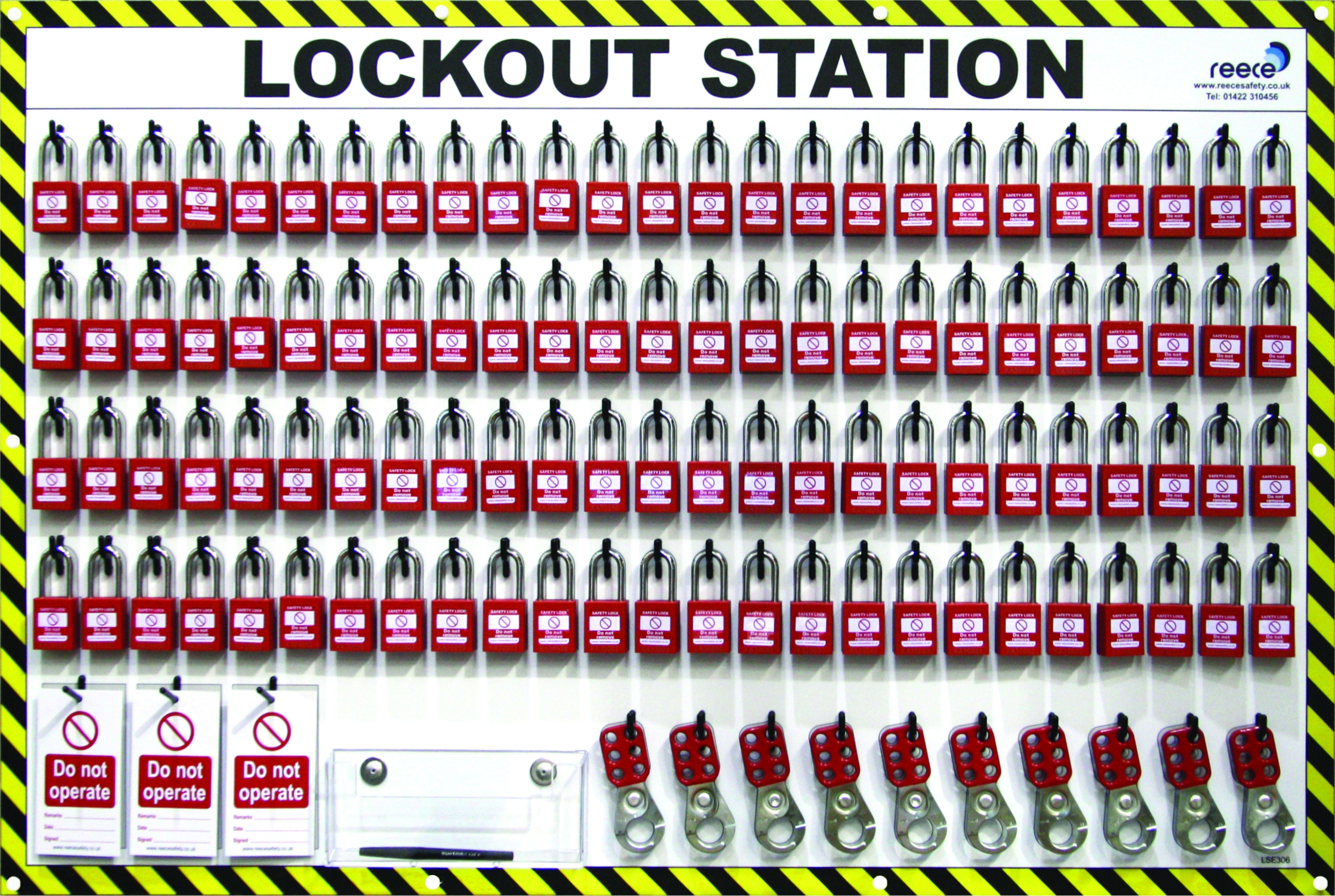 100 Lock Lockout Station With Contents
