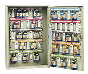 Padlock cabinet holds 25 padlocks - Key locking