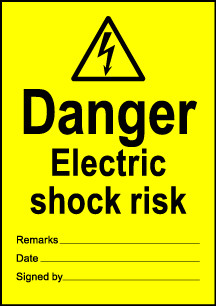 Size A6 Danger Electric shock risk