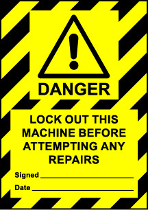 Size A6 Danger Lockout this machine before attempting