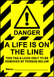 Size A6 Danger a life is on the line