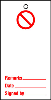 Lockout tags 200x100mm Prohibition Blank. Pack of 10 tags