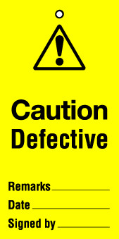 Lockout tag 200x100mm Caution Defective (Pack of 10)