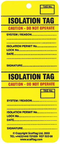 Isotag Pack of 50 (two part perforation)