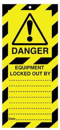 Lockout Safety Tags Pk 10 110 x 50mm Equip Locked Out By