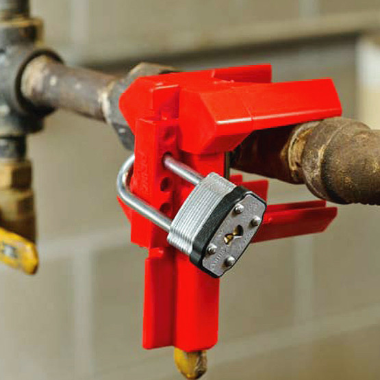 Ball Valve Lockout fits valve size 12.5mm to 31mm RED
