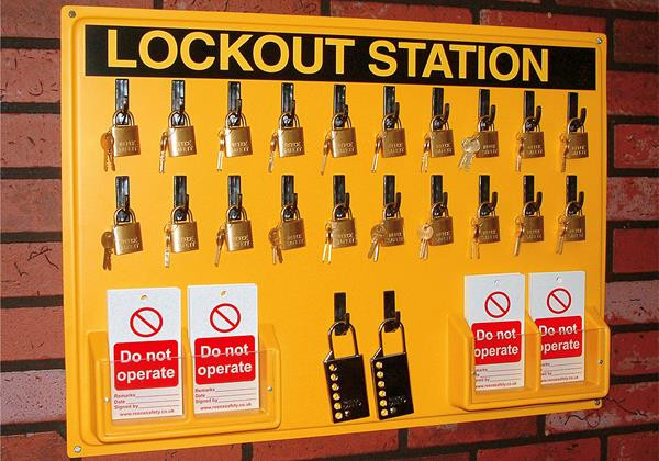 20 brass padlock Lockout Station (station only)
