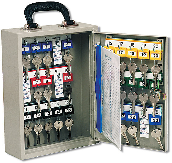 Mobile Key Cabinet with handle for 50 keys with keyed lock