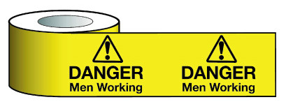 Barrier Warning Tape 75mmx100m Danger Men Working