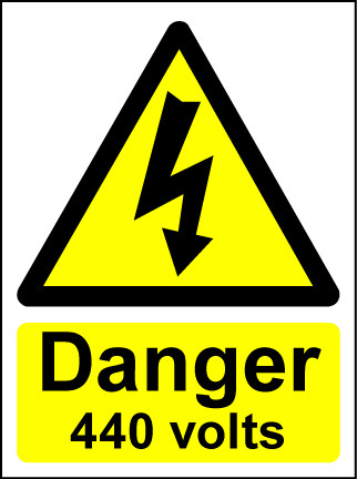 Hazard Warning Sign 200x150mm Danger 440 volts (rigid)
