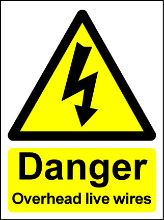 Hazard Warning Sign 200x150mm Danger Overhead live wires(rig