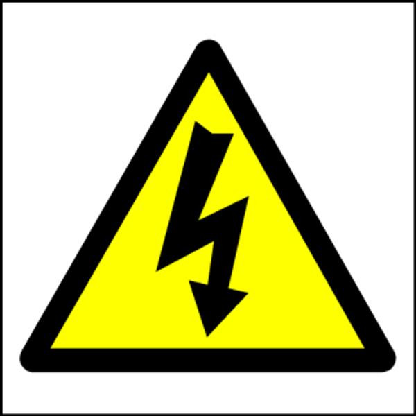 Hazard Warning Sign 150x150mm Electric symbol (s/a)