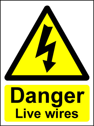 Hazard Warning Sign 200x150mm Danger live wires (rigid)