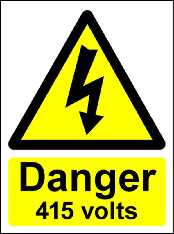 Hazard Warning Sign 200x150mm Danger 415 volts (s/a)