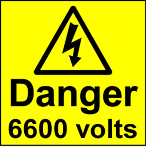 Electrical Safety Labels - 6600 Volts