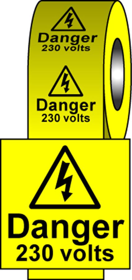 Safety Labels - 230 Volts