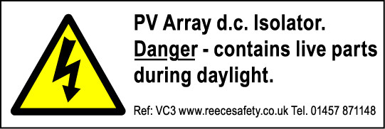 Pack of 250 Photovoltaic 'PV' Labels