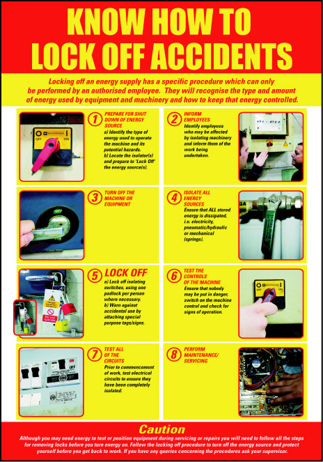 Lockout/Tagout Safety Poster - 'Know How to Lock Off Accidents'