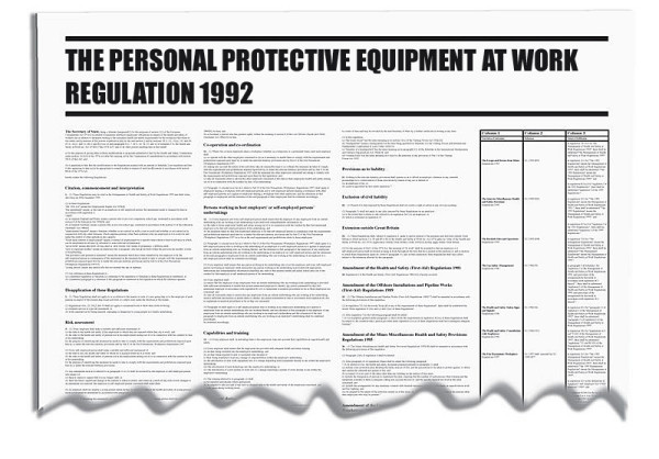 Personal Protective Equipment @ Work Regulations Wallchart