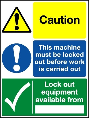 S/A Lockout Wall Sign 600x450mm 3-message