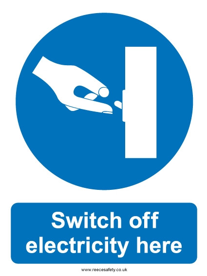 Hazard Warning Sign 200x150mm Switch off electricity here