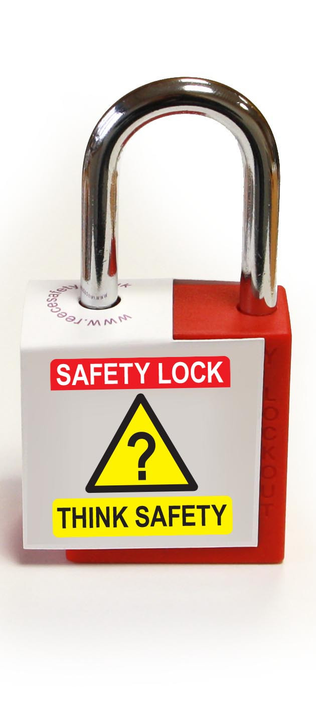 'Think Safety' - Lockout Padlock Fold-Over Tag
