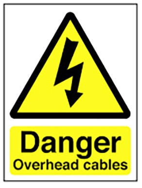 Hazard Warning Sign 400x300mm Danger Overhead cables (rigid)