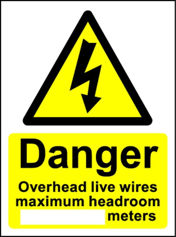 Danger Overhead Live Wires Magnetic (75mm x 110mm)