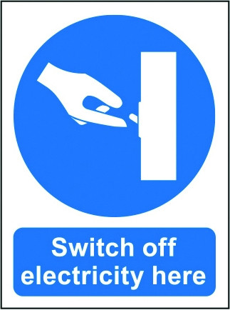 Switch off Electricity Here Vinyl (200mm x 150mm)