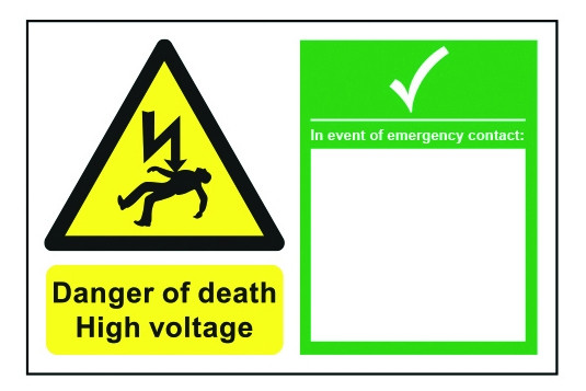 Danger of Death High Voltage inc Emergency Contact