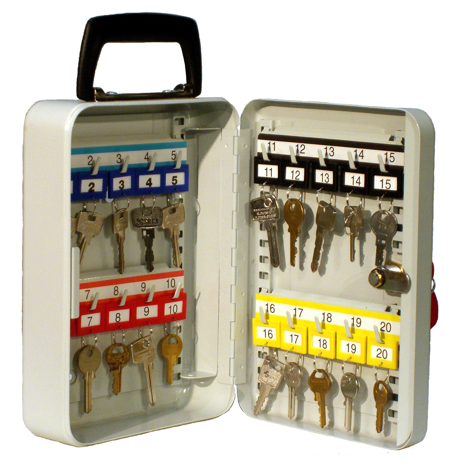 Mobile Key Cabinet with handle for 20 keys with a keyed lock